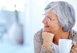 elderly lady drinking tea