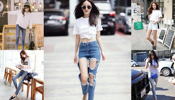 เสื้อสีขาว-กางเกงยีนส์