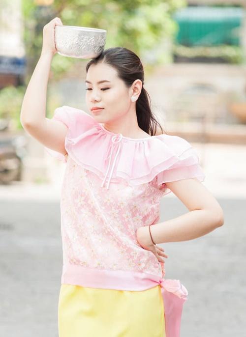ชุดไทยคอกระเช้าเล่นน้ำสงกรานต์
