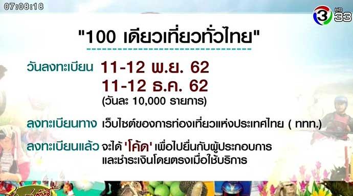 ลงทะเบียน 100 เดียวเที่ยวทั่วไทย